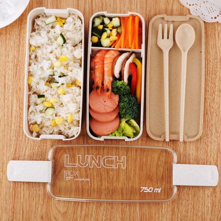 天然环保双层小麦秸秆饭盒多功能韩式便当盒分格餐盒 定制LOGO批发