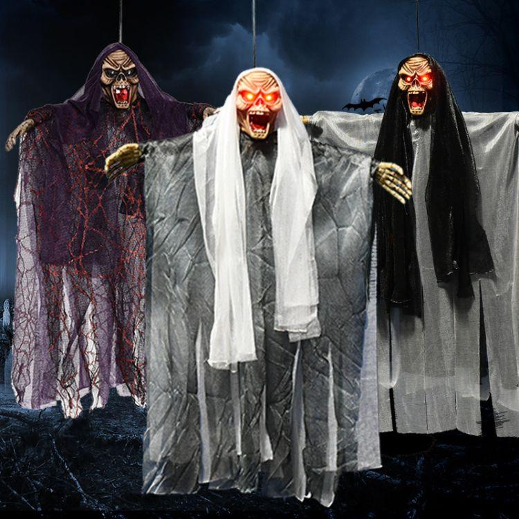 万圣节骷髅头吊挂装饰巫婆整蛊玩具鬼屋道具恐怖电动挂件玩具批发