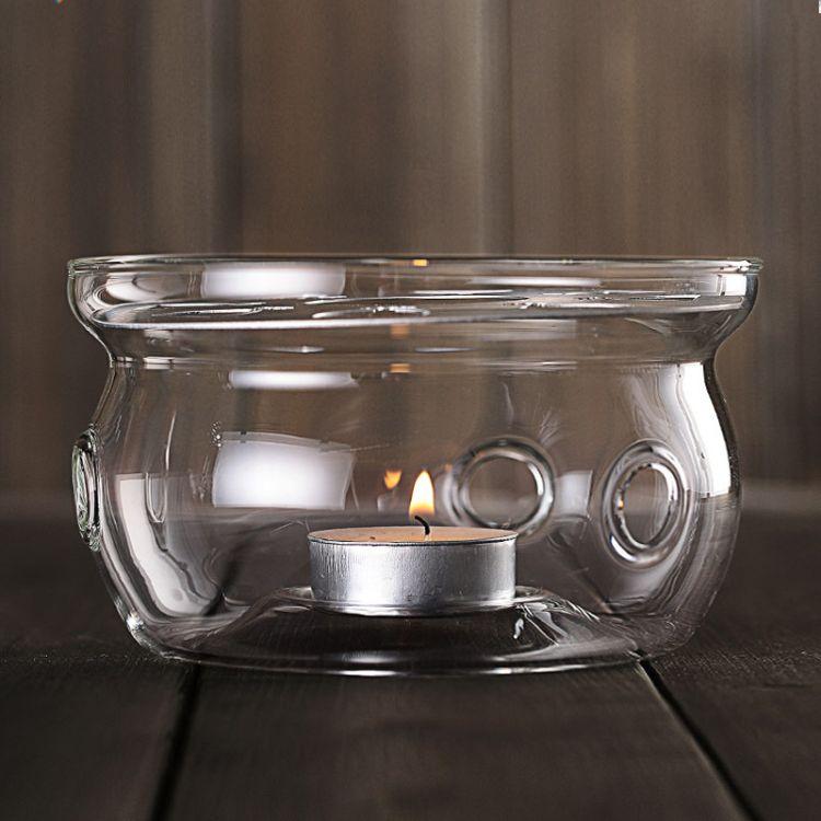 手工透明玻璃底座 蜡烛加热保温壶座 套装茶具配件 小号