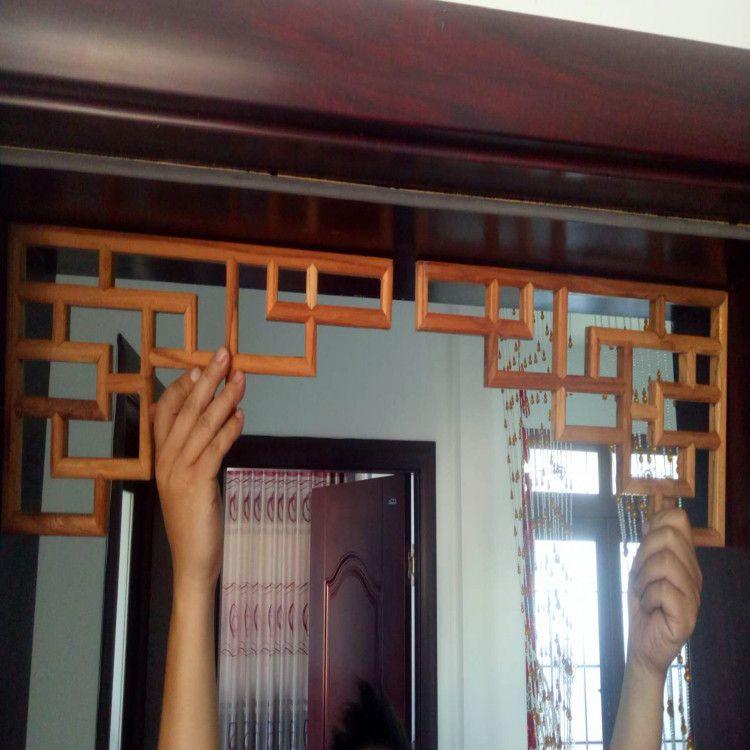 优惠东阳木雕中式实木玄关角花墙角中式仿古梁托吊顶角花装饰线条