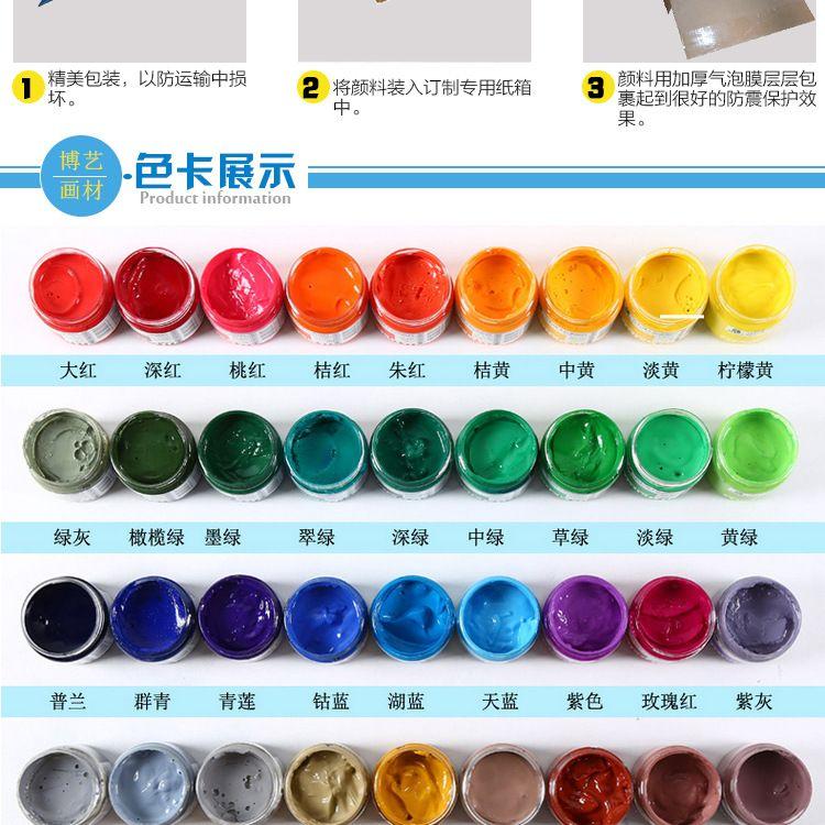 水彩美术绘画颜料马利水粉颜料浓缩广告画100ml瓶装水彩颜料