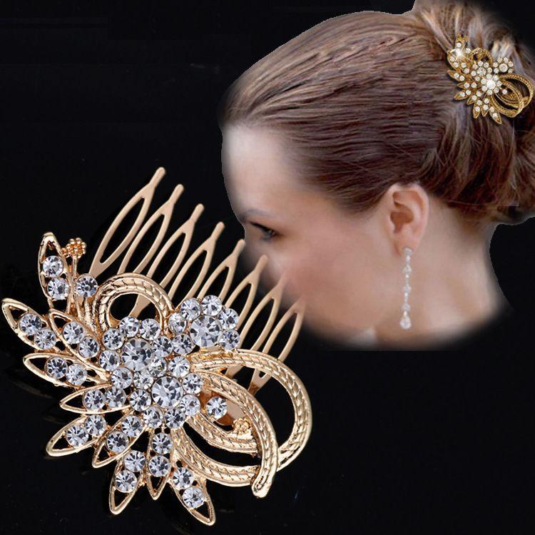 欧美简约新娘闪钻优雅花朵多齿插梳 发梳 合金电镀金银头饰边夹