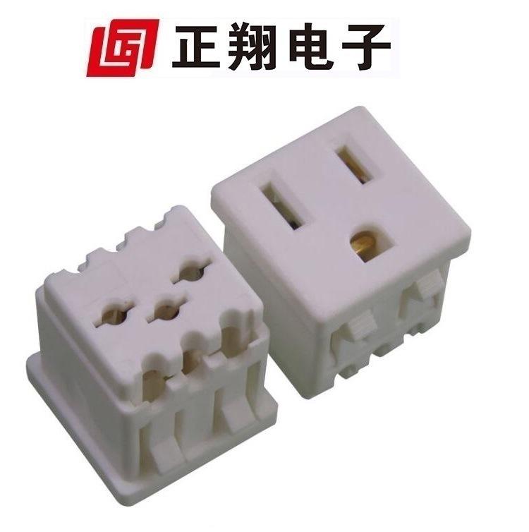 厂家白色 台灯插座 带TR 美式 带防护门座 压线式 美标插座