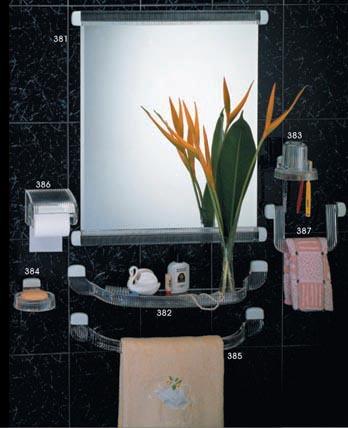 批发卫浴挂件方镜子套装毛巾杆纸巾盒置物架牙刷盒肥皂架可定制