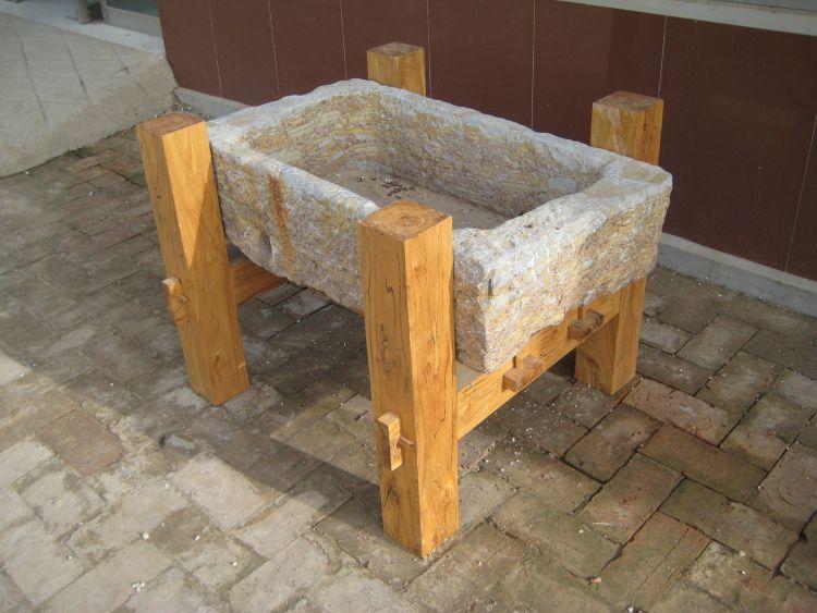 老榆木家具  实木鱼缸底座 石头鱼缸 牛槽鱼缸 原生态装饰室外