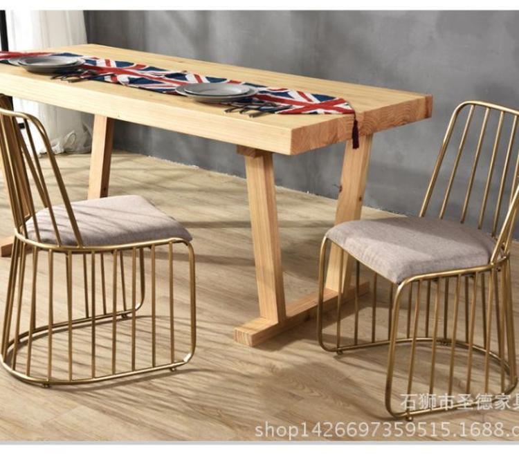 北欧铁艺餐椅靠背椅子现代休闲单椅简约休闲金色餐椅餐厅椅子