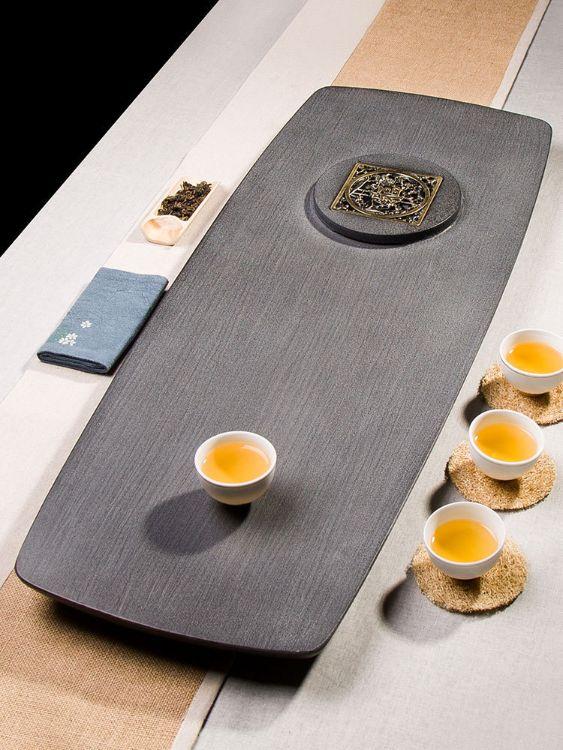 乌金石茶盘天然整块 茶台高档茶室 简约排水功夫大号长方形嵌铜片