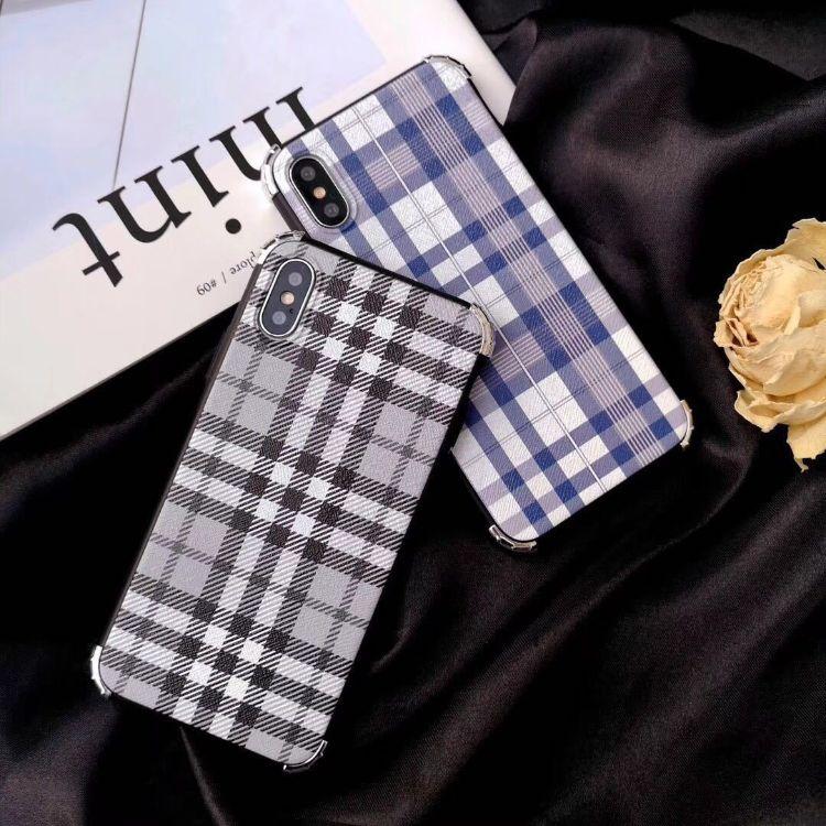 简约格子适用苹果XSmax手机壳6s防摔软壳iphone7/8plusXR/XsMax潮