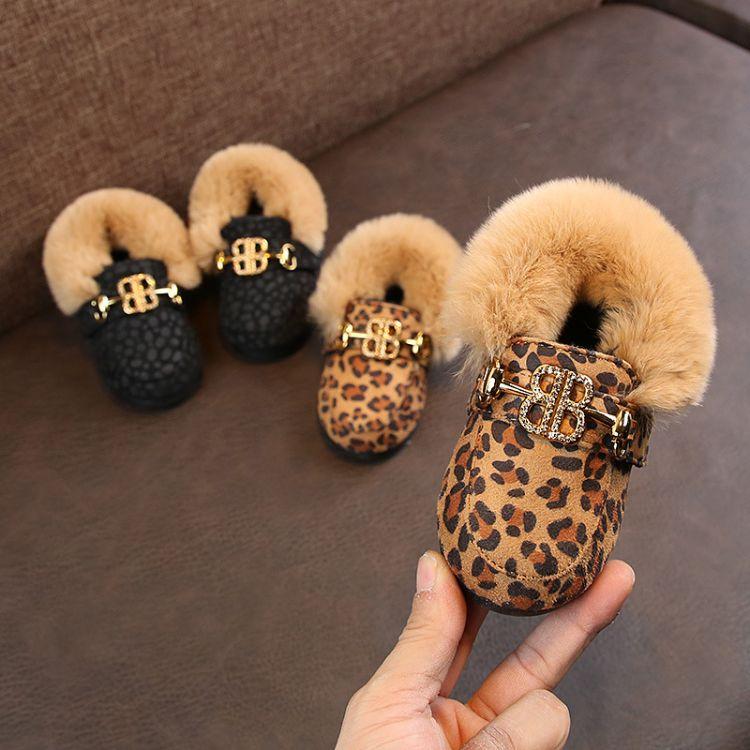 冬季新款豹纹兔毛儿童豆豆鞋 1-3岁加棉保暖小童皮鞋女宝宝棉鞋