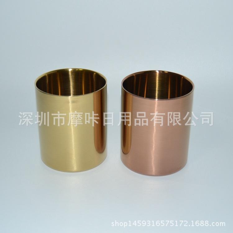 直筒双层电镀镀铜香薰蜡烛筒  金色酒店家居装饰金属蜡烛瓶定制
