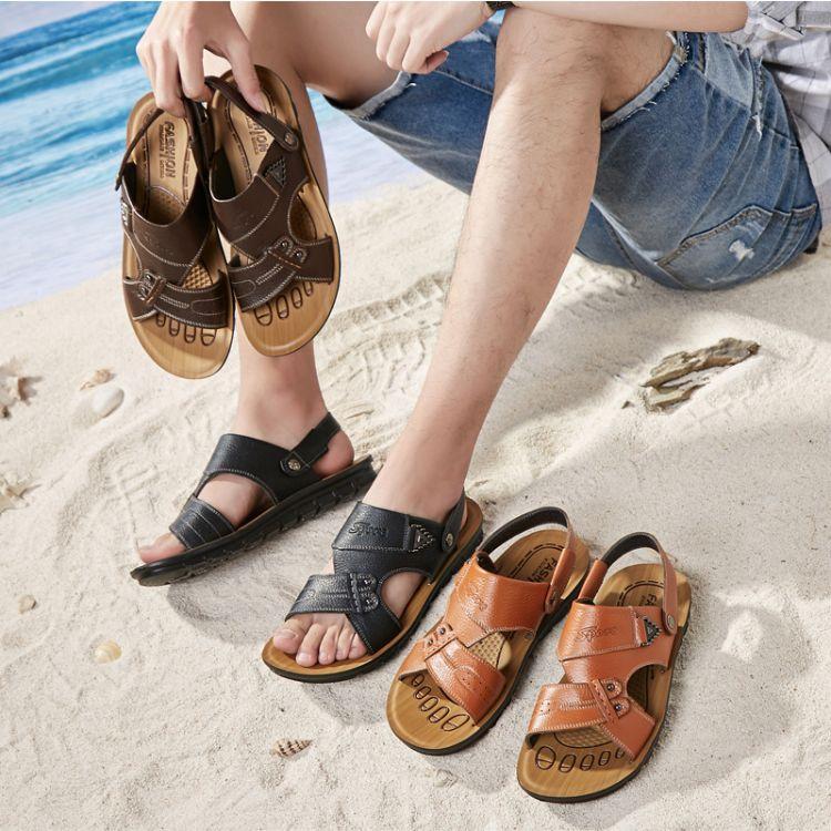 夏季男士凉鞋男真皮沙滩鞋休闲鞋2018新款大码爸爸鞋中老年凉拖鞋