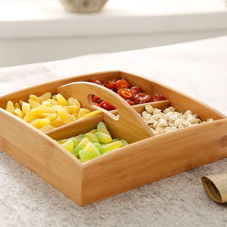 竹木干果糖果零食收纳盒 木质喜糖婚庆礼盒 实木四格六格桌面储物