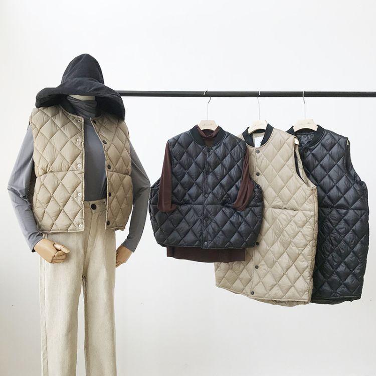 【莯小姐】2018冬装新款 文艺简约风棒球领单排扣菱格棉服马甲 女