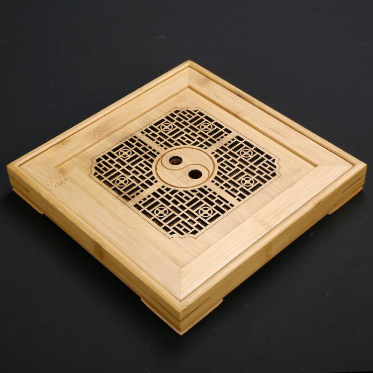 儲水竹制茶盤 家用迷你創意個性小茶臺 抽屜式茶托盤 簡約竹茶海茶具