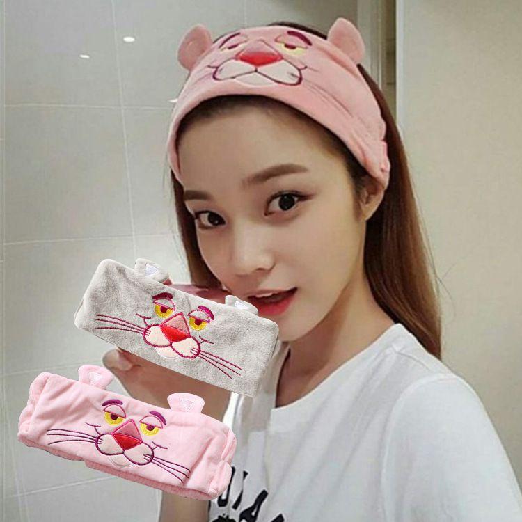 洗脸发带韩国头饰粉红豹子卡通可爱刺绣防滑高弹力少女心头套