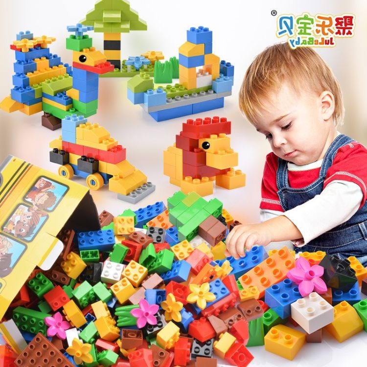 儿童大颗粒积木拼装插104粒盒装积木玩具3-6周岁批发儿童益智玩具
