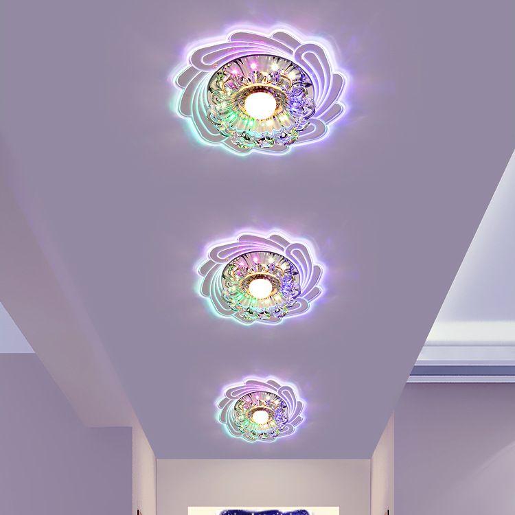 现代简约led水晶灯过道灯走廊灯圆形玄关灯入户灯门厅吸顶灯批发