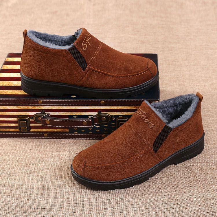 厂家直销男士高帮棉鞋加绒加厚保暖舒适中老年爸爸鞋雪地靴
