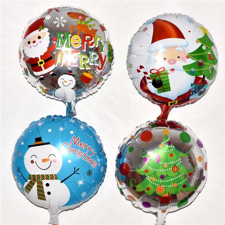 18寸圆形圣诞节圣诞老人铝膜气球酒吧KTV商场节日派对布置装饰