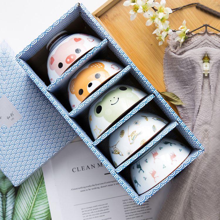碗碟套装家用陶瓷吃饭碗可爱米饭碗简约创意送礼礼盒景德镇餐具