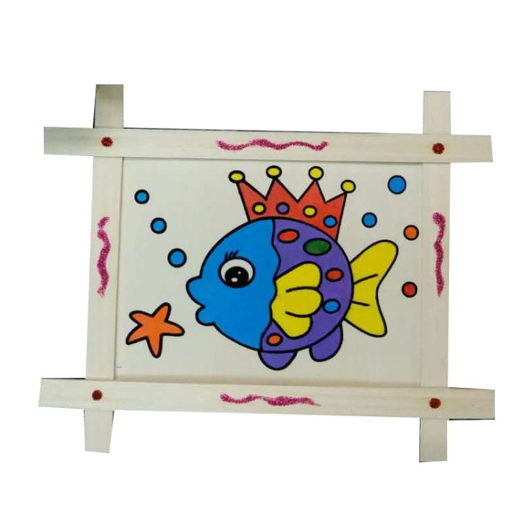 儿童手工木框画木板画沙画 水彩画彩绘画涂鸦DIY益智玩具