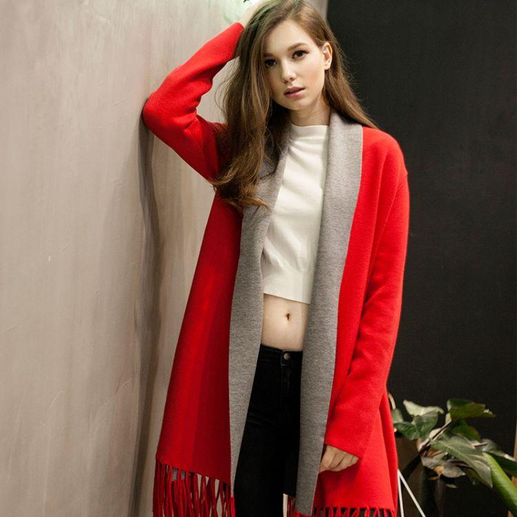 享秋冬防寒保暖时尚撞色女款披肩一件代发 两用外套开衫斗篷披肩