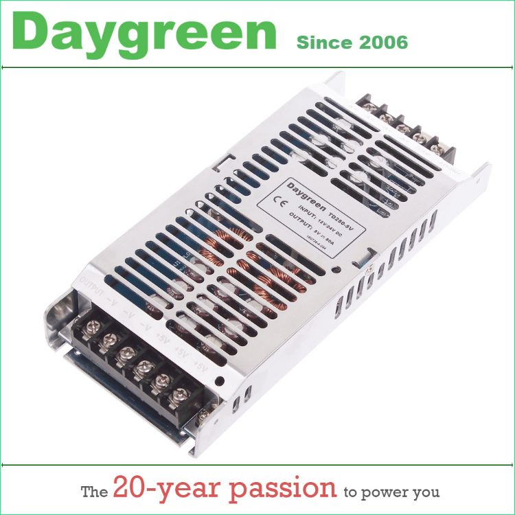 德格林LED开关电源DC5V50A输出超薄高效能显示屏电源24V转5V车载降压模块