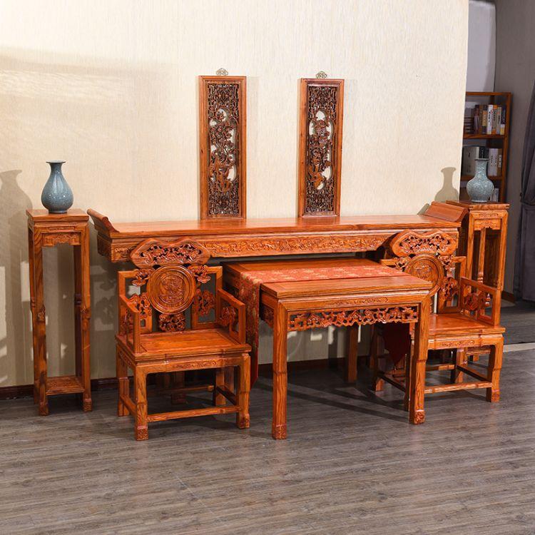 南榆木中堂六件套四件套实木八仙桌仿古明清中式条案供桌案台案几