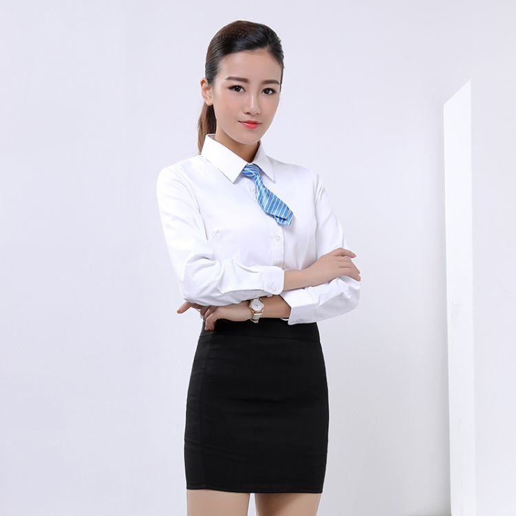 职业衬衫女长袖白色气质修身 白领商务正装打底衫 工作服绣logo