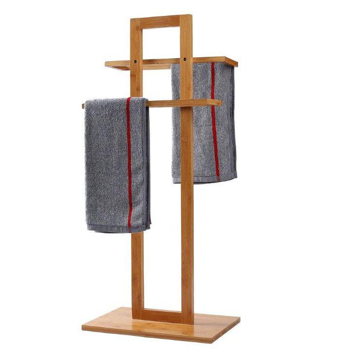 立式毛巾架 浴室毛巾架竹木