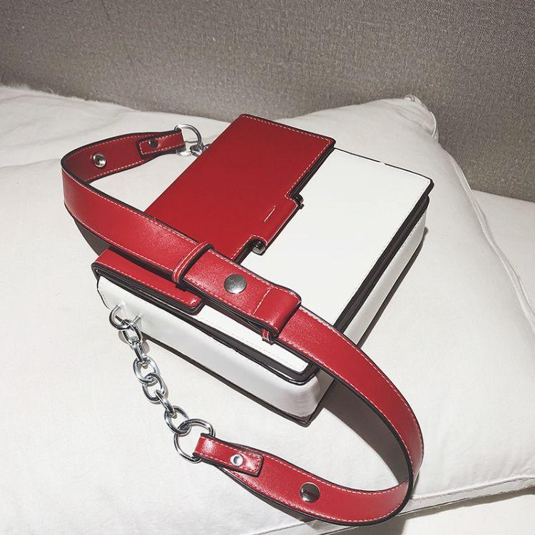广州工厂OEM加工订做各类箱包皮具时尚拼色小方包锁扣包PU包手提