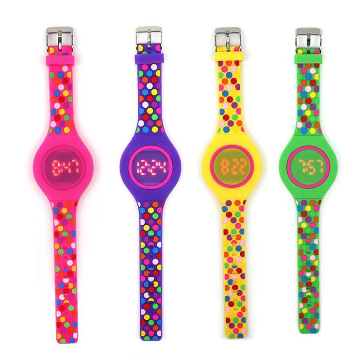 工厂直销硅胶手表儿童 手表波点玩具学生led电子表 男孩女孩礼物