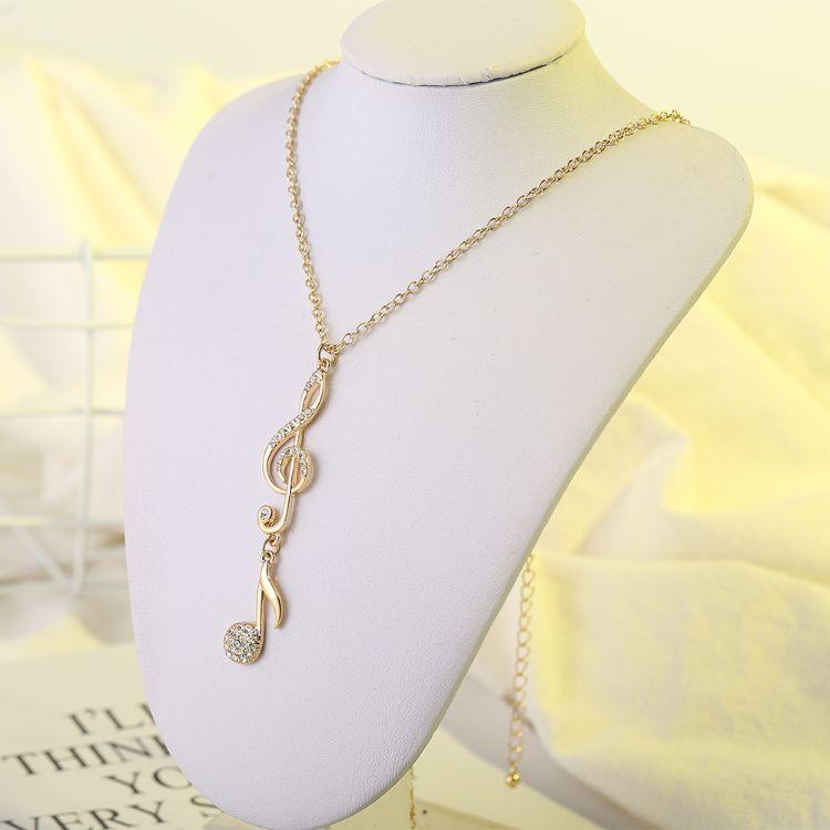 新款音符心形项链 时尚简练送礼镶锆锁骨链项链 厂家批发
