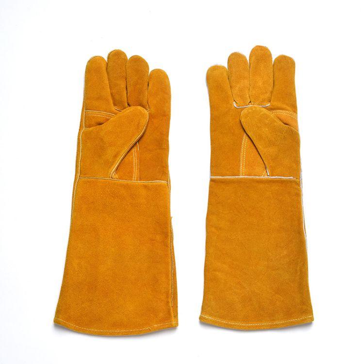 长款耐磨双层电焊手套 18寸弯刀防火线隔热牛皮焊工手套 舒适安全