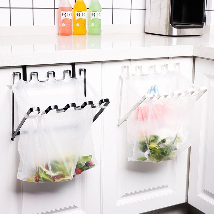 厨房垃圾袋挂架日式铁艺可挂式收纳垃圾桶塑料袋橱柜门背式垃圾架