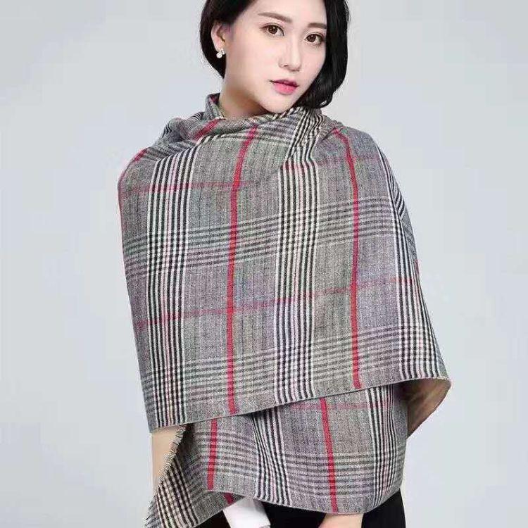 新款冬季加厚保暖双面围巾女两用长款百搭英伦格子仿羊绒披肩批发