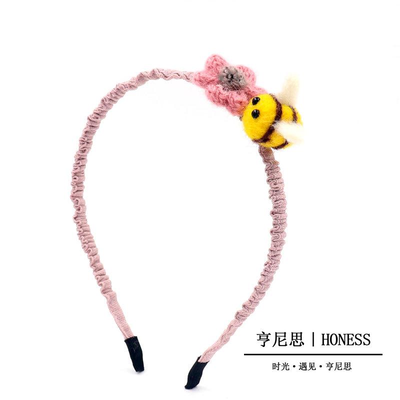 C130儿童新款布艺头发箍卡通动物花朵发夹羊毛毡蜜蜂发圈皮筋批发