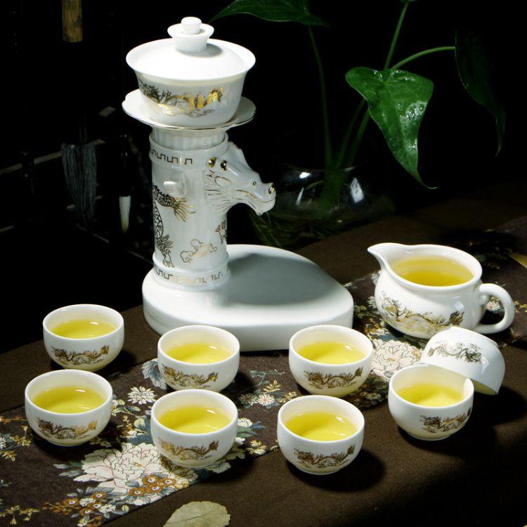 忠艺信旋转出水 半自动茶具套装 懒人陶瓷茶壶功夫 茶杯礼品定制 茶具配件