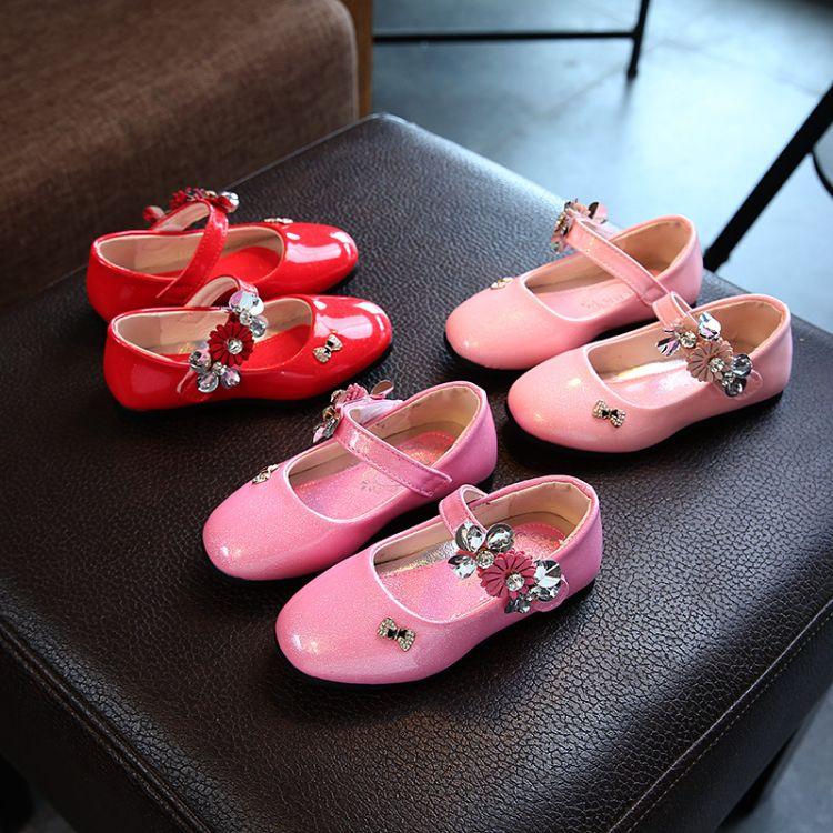 春秋款水钻童鞋韩版花朵单鞋女童公主鞋儿童方头舞蹈单鞋