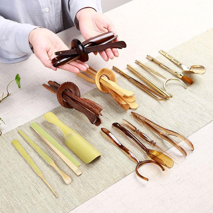 茶具配件铜制六君子套装 家用功夫茶具 茶夹茶勺茶针茶道零配摆件组