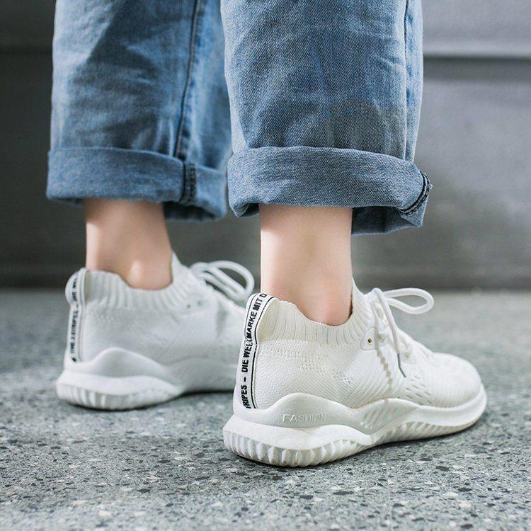 飞织透气老爹鞋袜子鞋夏季新款运动韩版休闲系带学生护士工作女鞋