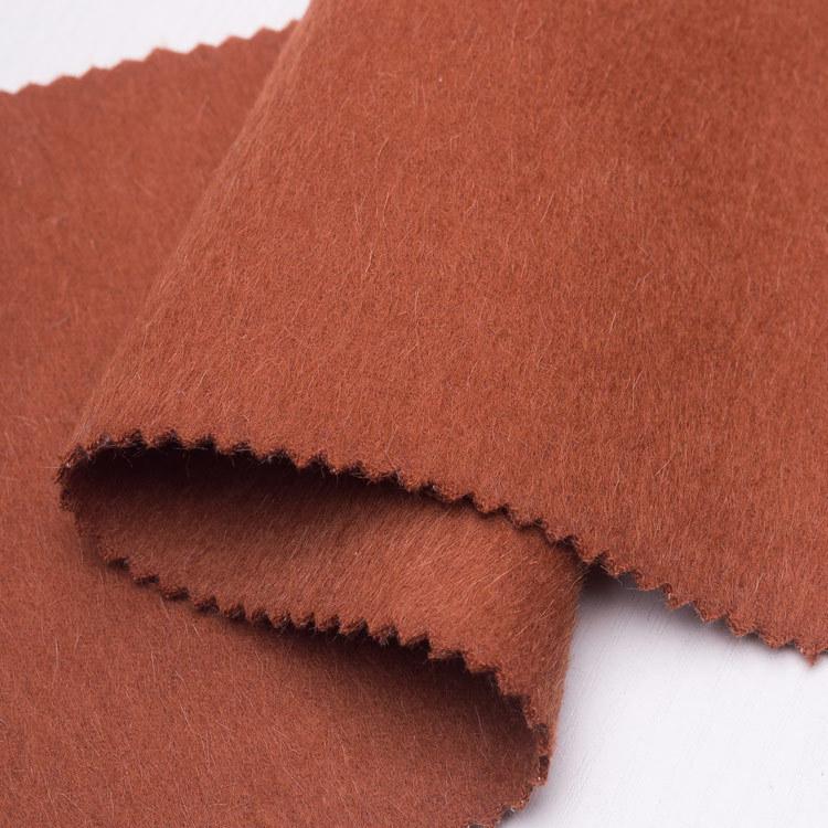 2018新款双面顺毛素色粗纺羊毛阿尔巴卡面料时装大衣外套厂家直发