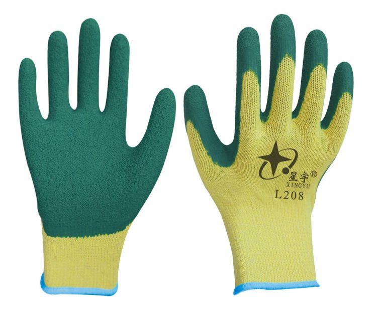 星宇L208手套十针粗涤棉纱线天然乳胶皱纹耐磨搬运建筑劳保手套