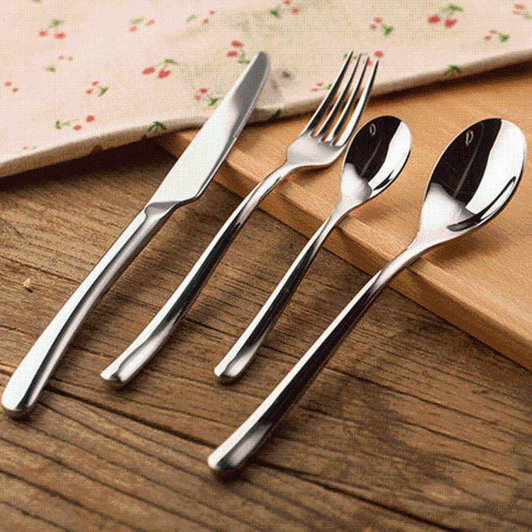 月光不锈钢西餐餐具刀叉勺四件套装牛排刀叉套装不锈钢雪糕匙