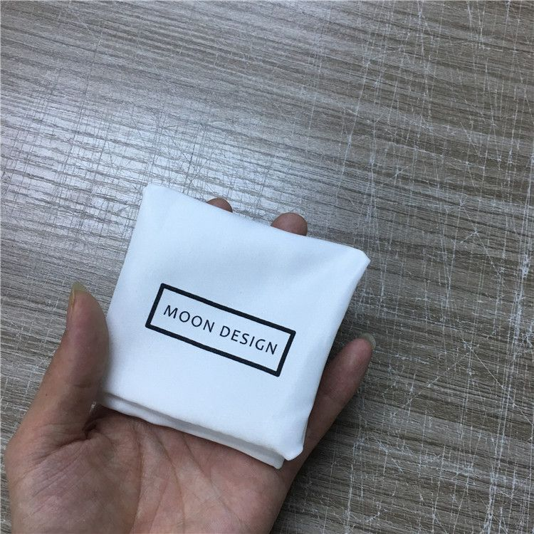 定制丝印logo色丁布袋本白加密软色丁珠宝首饰包装袋项链戒指布袋