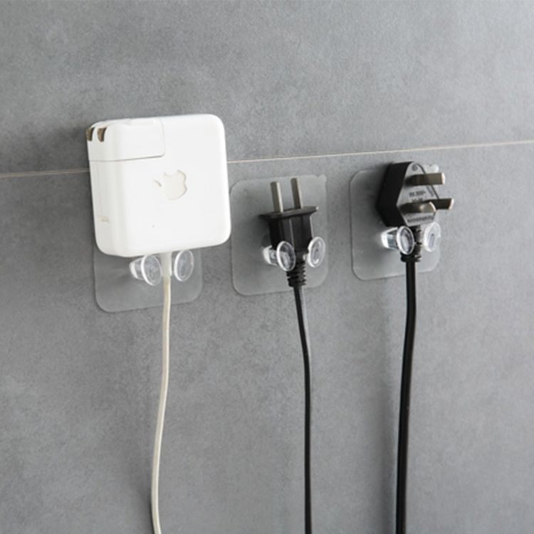 塑料透明强力无痕插头挂钩 收纳粘钩插座电线插头支架数据线挂钩