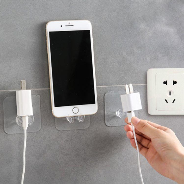 透明电源插头挂钩 粘胶收纳粘钩 电线插头支架挂钩墙壁手机收纳架