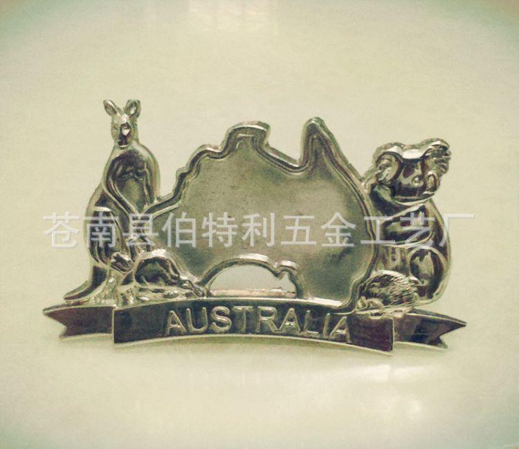 厂家定做 澳大利亚国宝袋鼠树熊锌合金金属工艺品办公摆件名片座