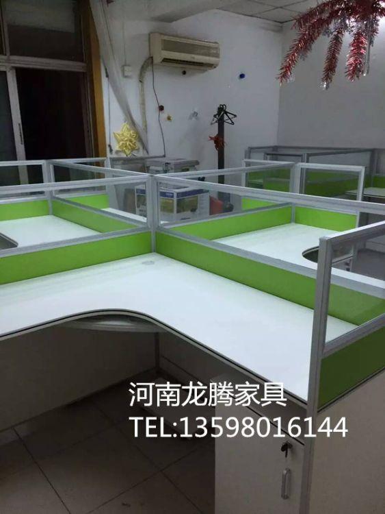 商丘职员办公桌4人位屏风办公桌6人员工隔断卡位电脑桌椅组合