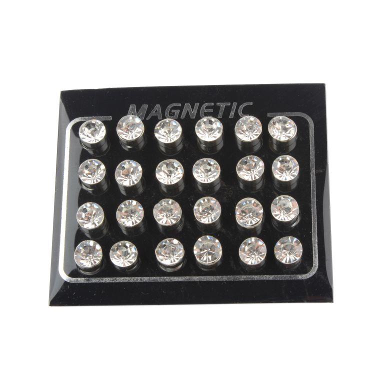 12对装时尚7mm闪亮纯色水钻款 男女通用免耳洞磁铁吸铁石耳钉批发